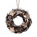 Wreath Birkenstern, D20cm, H7cm, natural white